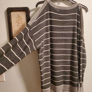 Loft Cold Shoulder Striped Sweater